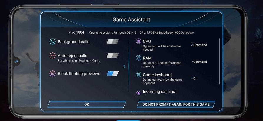Chế độ chơi game AI trên vivo V11 với nhiều công năng