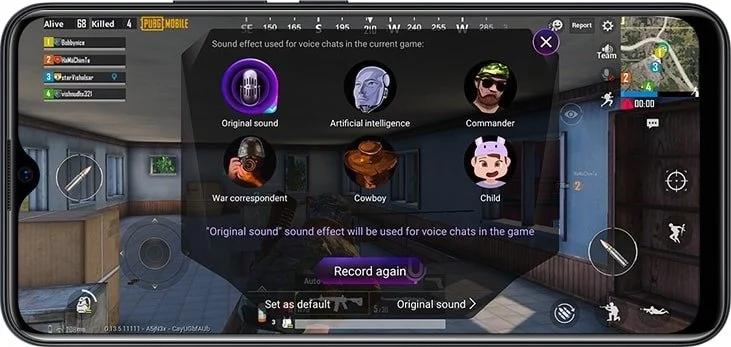 tính năng thay đổi giọng nói trong chế độ chơi game vivo