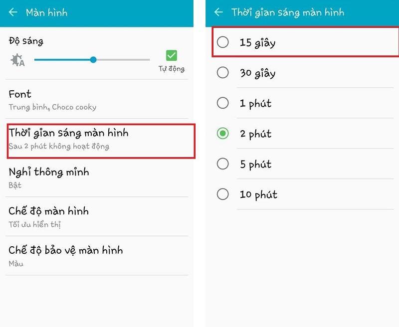 thay đổi thời gian sáng màn hình điện thoại android