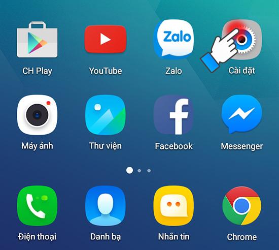 nhấn vào mụ cài đặt trên điện thoại Android