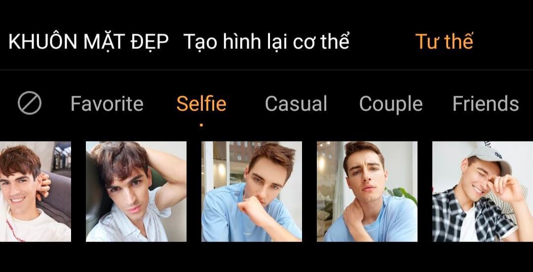 Tính năng gợi ý tạo dáng selfie cho nam trên vivo V17 Pro