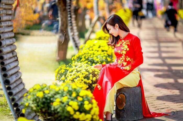 Ngồi ngắm hàng hoa bên đường
