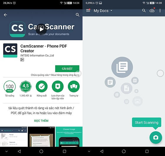App scan văn bản cho Android: CamScanner