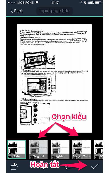 Nên chọn chế độ Magic Color để giữ được màu tự nhiên của tài liệu scan