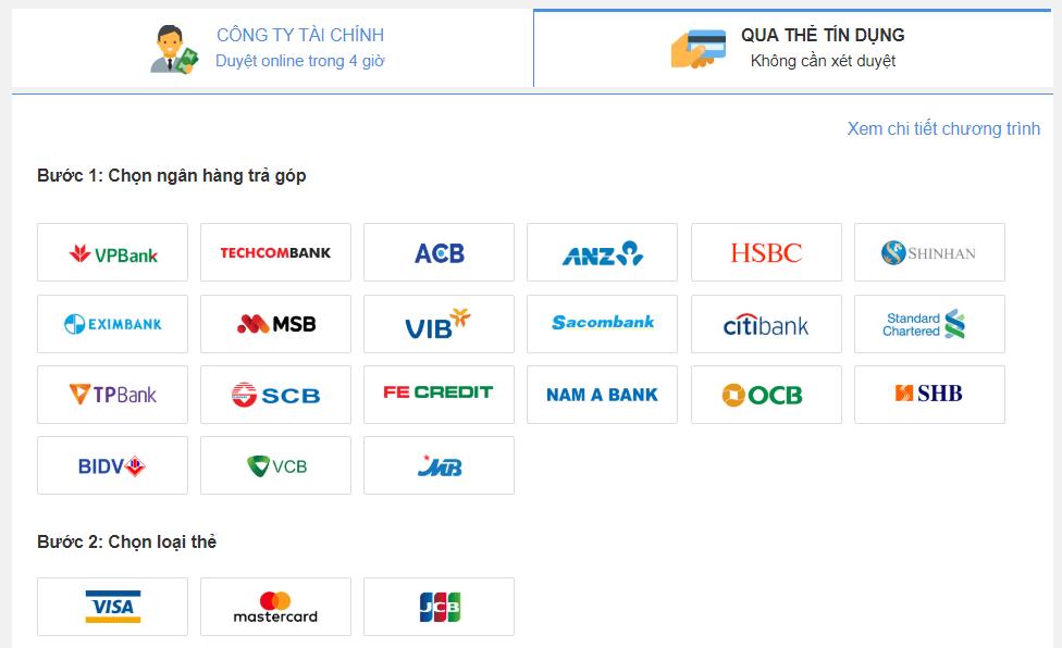 Chọn ngân hàng trả góp