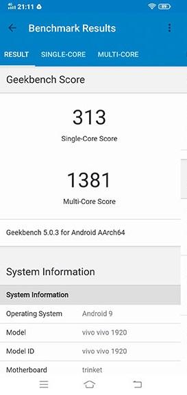 Điểm hiệu năng vivo S1 Pro đo bằng Benchmark 5.