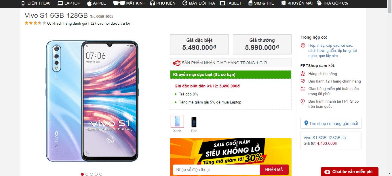 FPT Shop phân phối chính hãng smartphone vivo S1