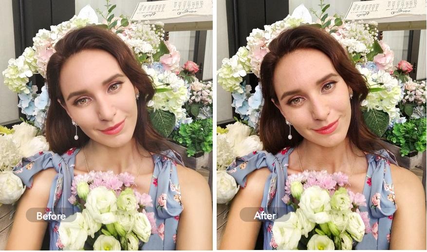 Ảnh chụp trước và sau khi áp dụng tính năng AI Face Beauty trên vivo Y12